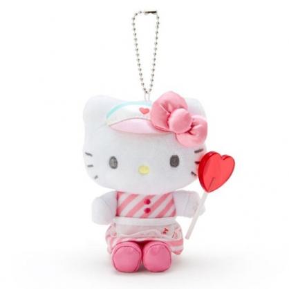 〔小禮堂〕Hello Kitty 絨毛玩偶娃娃吊飾《粉白》掛飾.鑰匙圈.夢幻糖果店系列