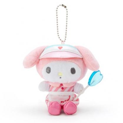〔小禮堂〕美樂蒂 絨毛玩偶娃娃吊飾《粉白》掛飾.鑰匙圈.夢幻糖果店系列