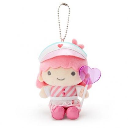 〔小禮堂〕雙子星LALA 絨毛玩偶娃娃吊飾《粉白》掛飾.鑰匙圈.夢幻糖果店系列