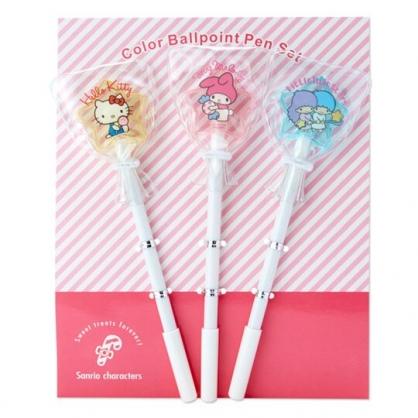 〔小禮堂〕Sanrio大集合 星星棒棒糖造型原子筆組《3入.粉黃綠》造型筆.夢幻糖果店系列
