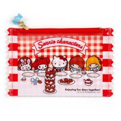 〔小禮堂〕Sanrio大集合 餅乾袋造型防水扁平化妝包《紅》收納包.筆袋.夢幻糖果店系列
