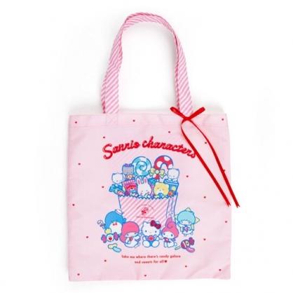 〔小禮堂〕Sanrio大集合 尼龍直式帆布側背袋《粉》手提袋.肩背袋.夢幻糖果店系列