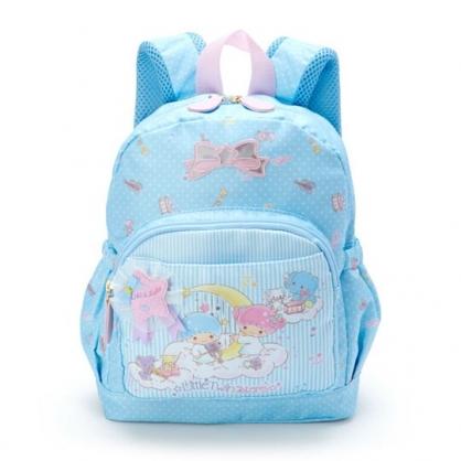 〔小禮堂〕雙子星 兒童尼龍雙層拉鍊後背包《藍白》書包.雙肩包.雲朵音符系列