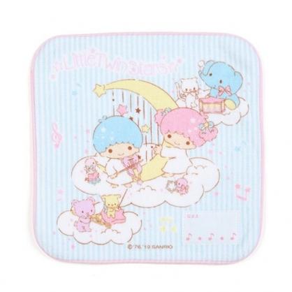 〔小禮堂〕雙子星 純棉割絨圓角小方巾《藍白》20x20cm.手帕.毛巾.雲朵音符系列