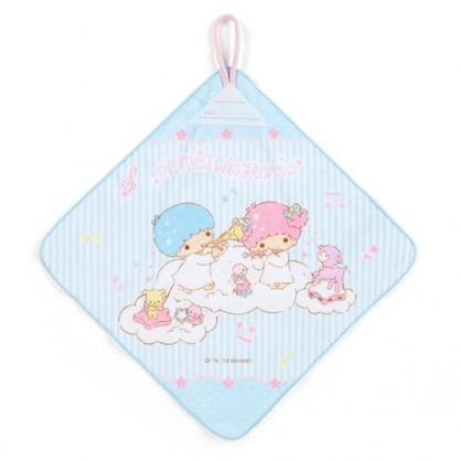 〔小禮堂〕雙子星 可掛式純棉割絨擦手巾《藍白》30x30cm.毛巾.雲朵音符系列