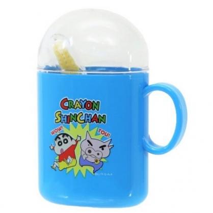 〔小禮堂〕蠟筆小新 日製杯裝旅行牙刷組《藍.左衛門》盥洗用品.口腔清潔