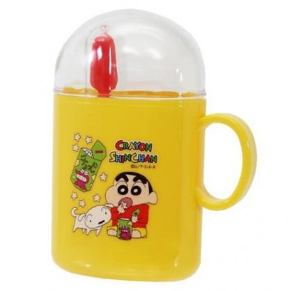 〔小禮堂〕蠟筆小新 日製杯裝旅行牙刷組《黃.吃餅乾》盥洗用品.口腔清潔