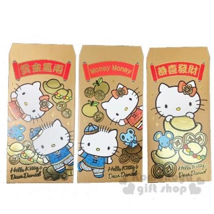〔小禮堂〕Hello Kitty 中式燙金直式紅包袋組《3入.金》禮金袋.信封袋