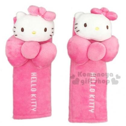 〔小禮堂〕Hello Kitty 車用造型絨毛安全帶護套組《2入.粉》減壓帶.汽車百貨.蝴蝶結系列