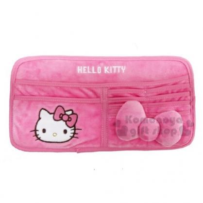 〔小禮堂〕Hello Kitty 車用造型絨毛遮陽板置物袋《粉》收納袋.汽車百貨.蝴蝶結系列