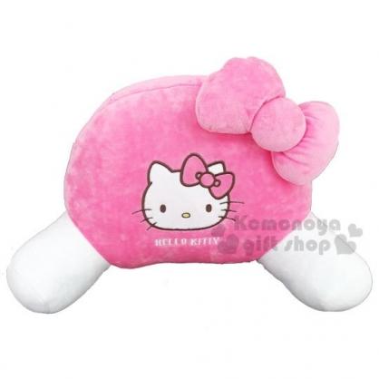〔小禮堂〕Hello Kitty 車用造型絨毛護腰靠墊《粉》抱枕.汽車百貨.蝴蝶結系列