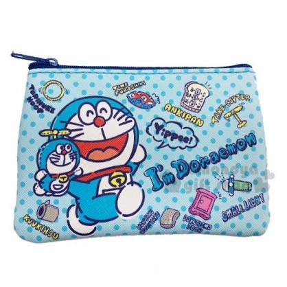 〔小禮堂〕哆啦A夢 方形皮質面紙零錢包《深藍.道具》收納包.化妝包.面紙包