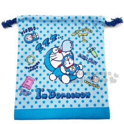 〔小禮堂〕哆啦A夢 棉質束口袋《藍.點點》18x20cm.縮口袋.收納袋
