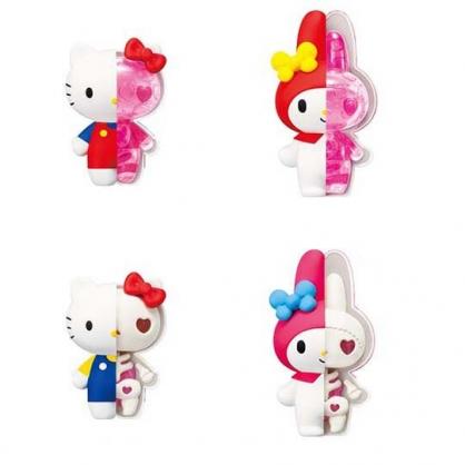 〔小禮堂〕Sanrio大集合 骷髏頭造型塑膠公仔玩具組《4入.粉盒裝》盒玩.模型