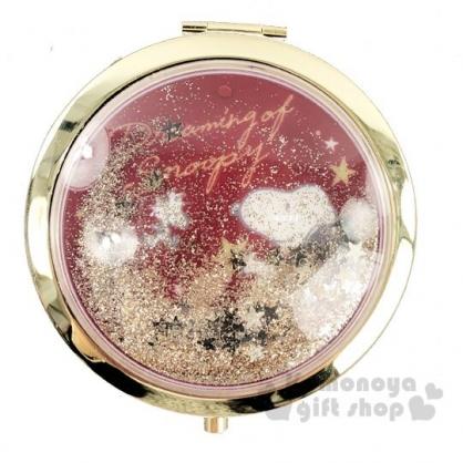 〔小禮堂〕史努比 金屬圓形流沙隨身雙面鏡《紅金.拿星星》放大鏡.折鏡