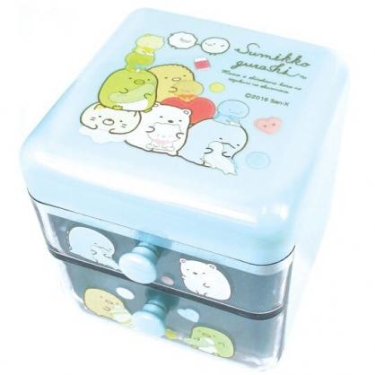 〔小禮堂〕角落生物 桌上型塑膠雙抽收納盒《藍.玩偶》置物盒.抽屜盒.飾品盒