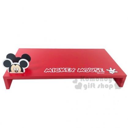 〔小禮堂〕迪士尼 米奇 橫式木製鍵盤螢幕架《紅.大臉》置物架.鍵盤架.電腦架