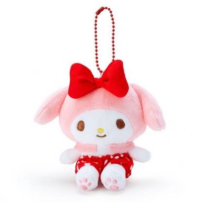 〔小禮堂〕美樂蒂 絨毛玩偶娃娃吊飾《紅褲.愛心印花》掛飾.鑰匙圈