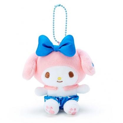 〔小禮堂〕美樂蒂 絨毛玩偶娃娃吊飾《藍褲.愛心印花》掛飾.鑰匙圈
