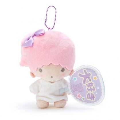 〔小禮堂〕雙子星 LALA 絨毛玩偶娃娃吊飾《粉白.扇套》掛飾.演唱會粉絲收納系列
