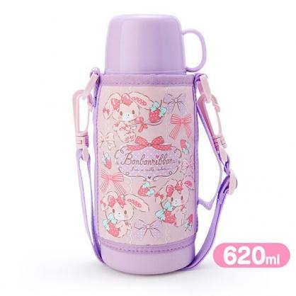 〔小禮堂〕蹦蹦兔 彈蓋不鏽鋼保溫瓶附水壺袋《紫.草莓》620ml.水壺.水瓶