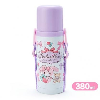 〔小禮堂〕蹦蹦兔 旋轉蓋不鏽鋼保溫瓶附背帶《紫白.草莓》380ml.水壺.水瓶