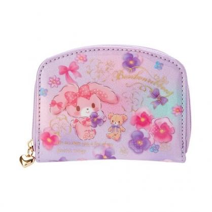 〔小禮堂〕蹦蹦兔 防水拉鍊短夾零錢包《粉紫.花朵》皮夾.錢包