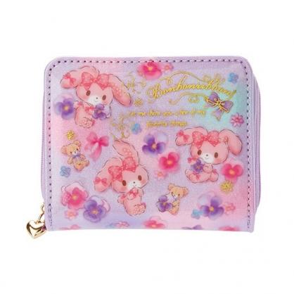〔小禮堂〕蹦蹦兔 防水魔鬼氈拉鍊短夾《粉紫.花朵》皮夾.錢包.零錢包