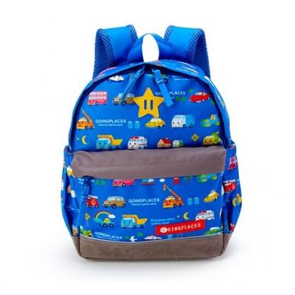 〔小禮堂〕RB工程車 兒童帆布雙層拉鍊後背包《藍灰.多車種》書包.雙肩包