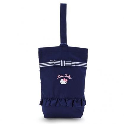 〔小禮堂〕Hello Kitty 花邊帆布手提鞋袋《深藍.大臉》收納袋.手提袋