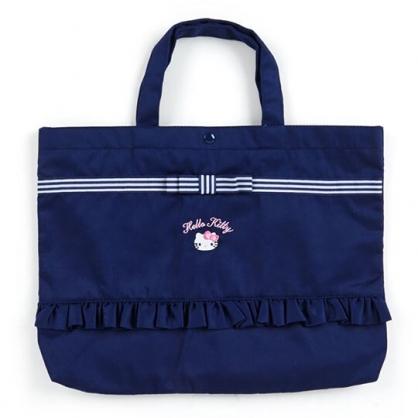 〔小禮堂〕Hello Kitty 花邊帆布橫式扣式手提袋《深藍.大臉》補習袋.書袋