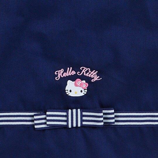 〔小禮堂〕Hello Kitty 花邊帆布束口手提袋《深藍.大臉》縮口袋.鞋袋
