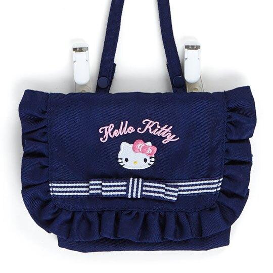 〔小禮堂〕Hello Kitty 兒童花邊帆布夾式口袋包《深藍.大臉》腰包.斜背包.零錢包