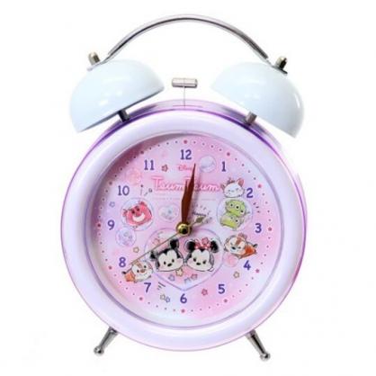 〔小禮堂〕迪士尼 TsumTsum 金屬圓形復古鬧鐘《粉紫.扭蛋殼》桌鐘.時鐘