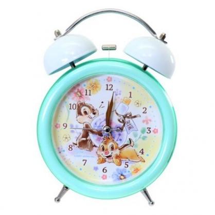 〔小禮堂〕迪士尼 奇奇蒂蒂 金屬圓形復古鬧鐘《綠黃.燈泡花》桌鐘.時鐘
