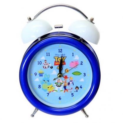 〔小禮堂〕迪士尼 玩具總動員 金屬圓形復古鬧鐘《藍白.雲朵》桌鐘.時鐘