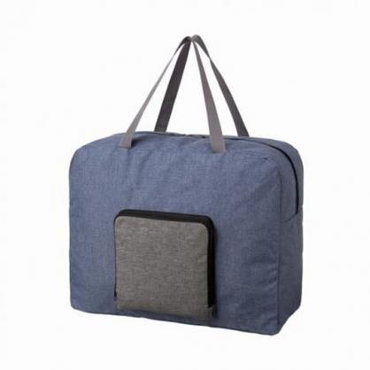 〔小禮堂〕 折疊牛仔布拉桿行李袋《藍灰》旅行袋.購物袋.手提袋