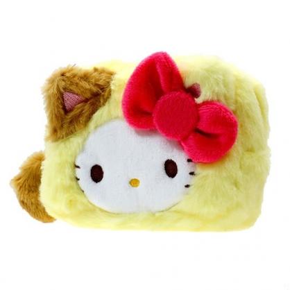〔小禮堂〕Hello Kitty 貓裝大臉造型絨毛化妝包《黃白》零錢包.收納包