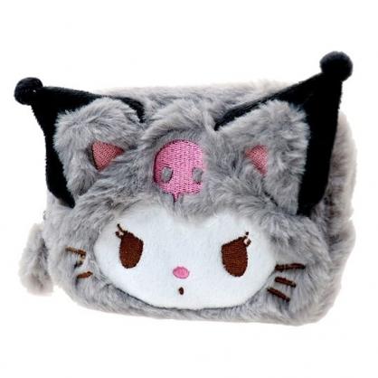 〔小禮堂〕酷洛米 貓裝大臉造型絨毛化妝包《灰白》零錢包.收納包