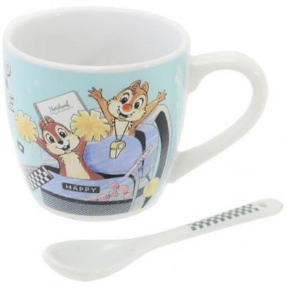 〔小禮堂〕迪士尼 奇奇蒂蒂 陶瓷馬克杯附湯匙《綠棕.後背包》茶杯.咖啡杯