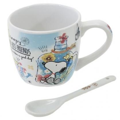 〔小禮堂〕史努比 陶瓷馬克杯附湯匙《藍黃.拿花籃》茶杯.咖啡杯