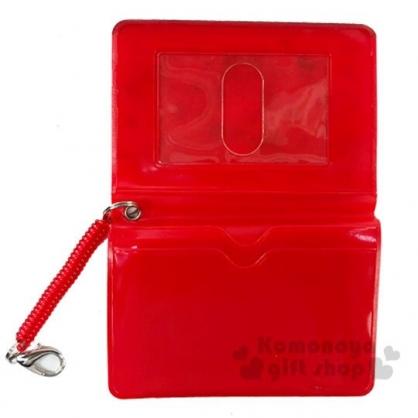〔小禮堂〕Sanrio大集合 防水彈簧繩票卡夾《紅.爆米花》證件夾.車票夾.卡套
