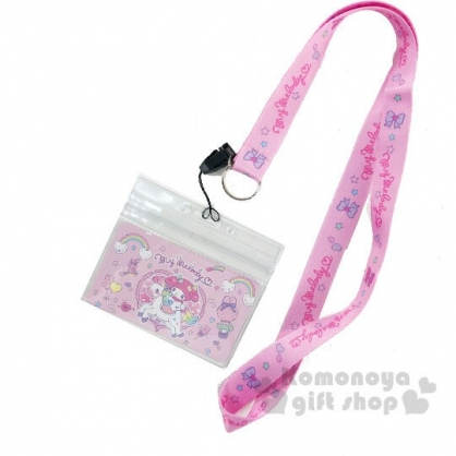 〔小禮堂〕美樂蒂 防水透明織帶掛繩證件套《粉綠.獨角獸》證件夾.車票夾.卡套