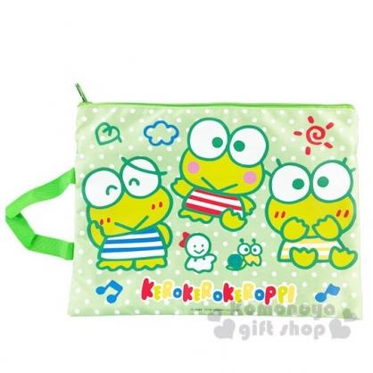 〔小禮堂〕大眼蛙 尼龍網格雙層拉鍊資料袋《綠白.點點》手提袋.收納袋.文件袋