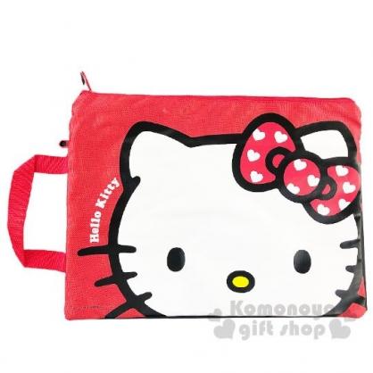 〔小禮堂〕Hello Kitty 尼龍網格雙層拉鍊資料袋《紅白.大臉》手提袋.收納袋.文件袋