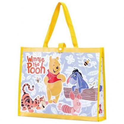〔小禮堂〕迪士尼 小熊維尼 橫式不織布手提購物袋《黃紫.樹葉》環保袋.手提袋