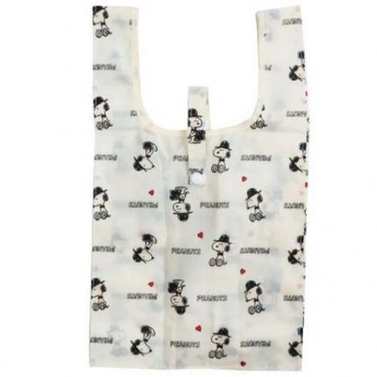 〔小禮堂〕史努比 折疊尼龍環保購物袋《米黑.紅領結》手提袋.環保袋