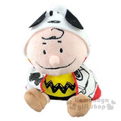 〔小禮堂〕史努比 查理布朗 盒裝披風絨毛玩偶娃娃《S.黃棕》擺飾.玩具