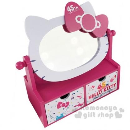 〔小禮堂〕Hello Kitty 木製雙抽化妝鏡收納盒《桃白.45週年》化妝鏡盒.抽屜盒.木製櫃