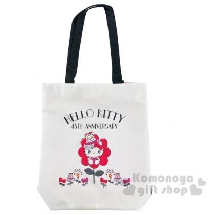 〔小禮堂〕Hello Kitty 尼龍拉鍊直式側背袋《白紅.慶生帽》肩背袋.手提袋
